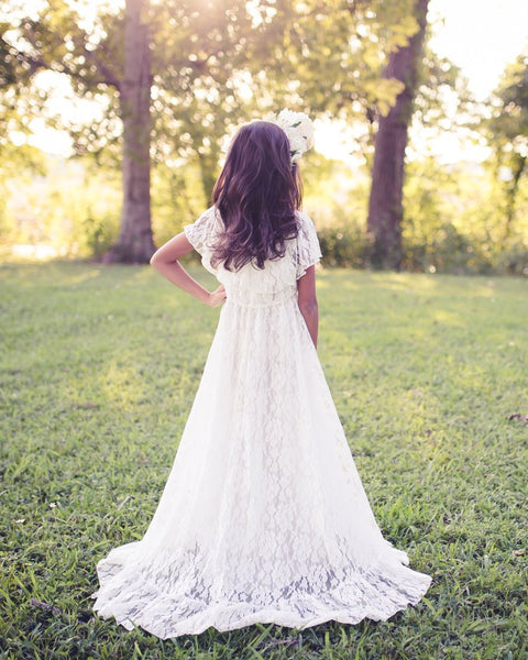 boho vintage lace flower girl dress - Belle & Kai