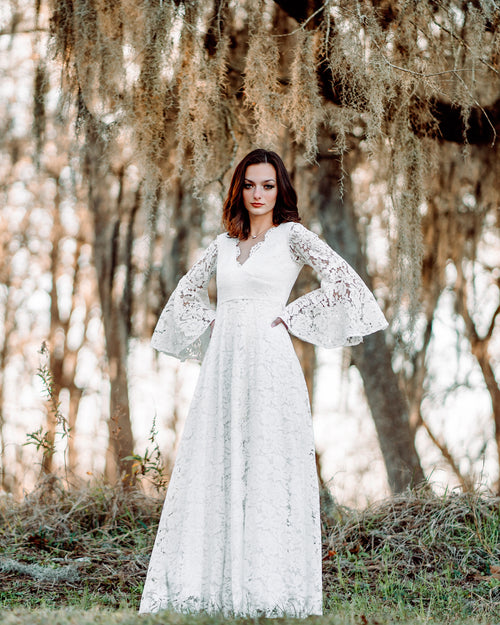 boho lace wedding maxi dress