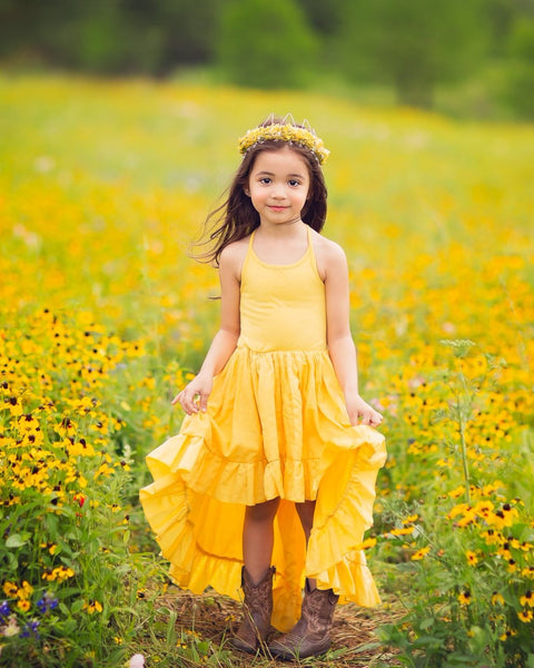 boho yellow linen flower girl high low dresses - Belle & Kai