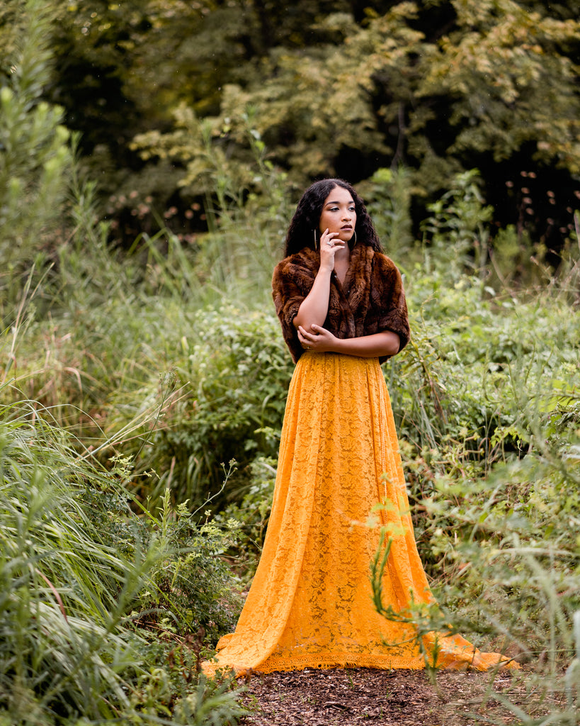 boho long flowy mustard lace maxi dress