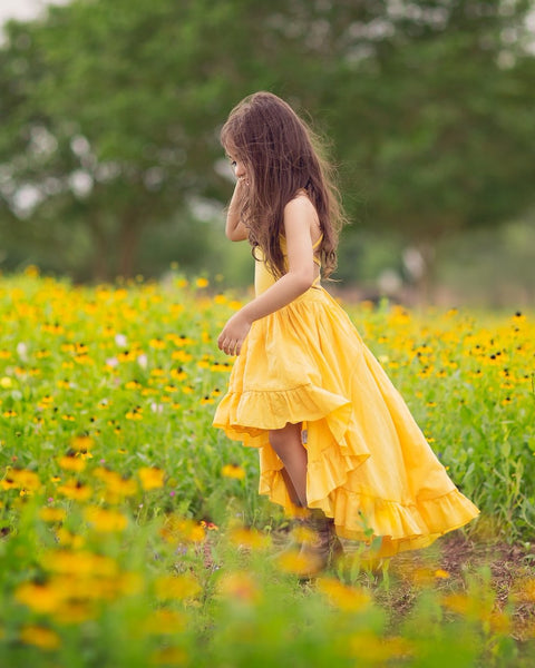 boho chic flower girl yellow linen high low maxi dress- Belle & Kai