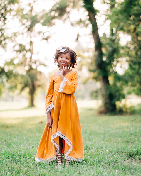 boho rustic mustard yellow flower girl dress