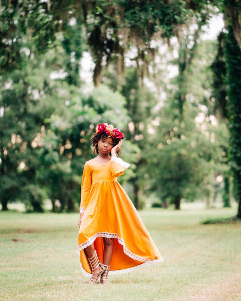 boho rustic mustard yellow high low flower girl dress maxi