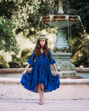 boho rustic navy blue flower girl lace dress