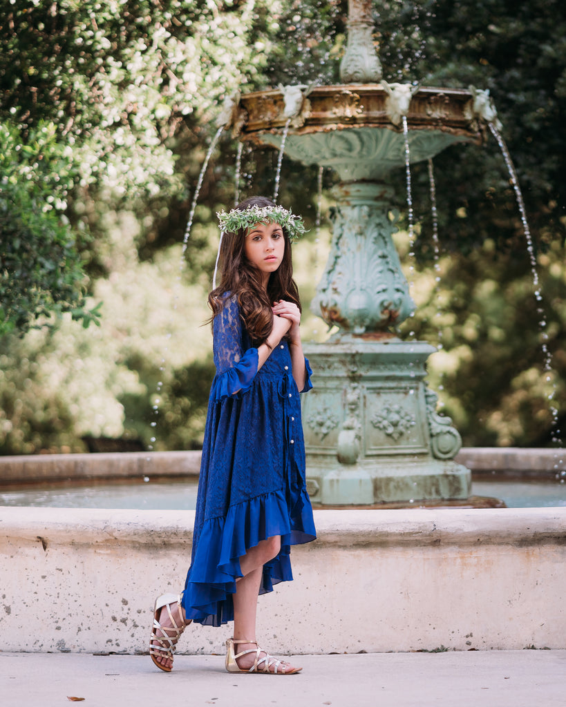 boho rustic navy blue junior bridesmaid lace dress