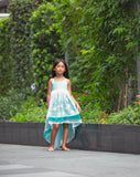 turquoise blue flower girl chiffon high low twirl dress
