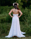 boho vintage lace backless wedding dress