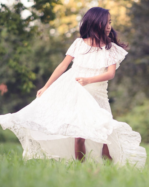 boho lace white flower girl maxi dress - Belle & Kai