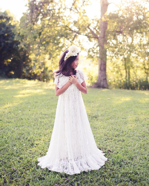 vintage lace boho flower girl maxi dress - Belle & Kai