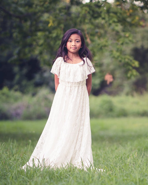 bohemian flower girl lace maxi dress - Belle & Kai