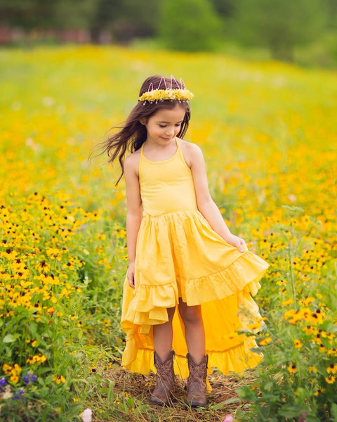 bohemian yellow linen flower girl high low maxi dress - Belle & Kai