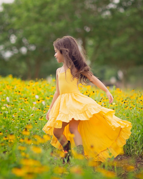 yellow bohemian linen high low flower girl maxi dress- Belle & Kai
