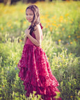 bohemian burgundy red flower girl dress - Belle & Kai