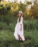 country rustic flower girl high low dress