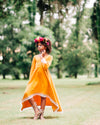 fall bohemian flower girl dress mustard yellow high low dress