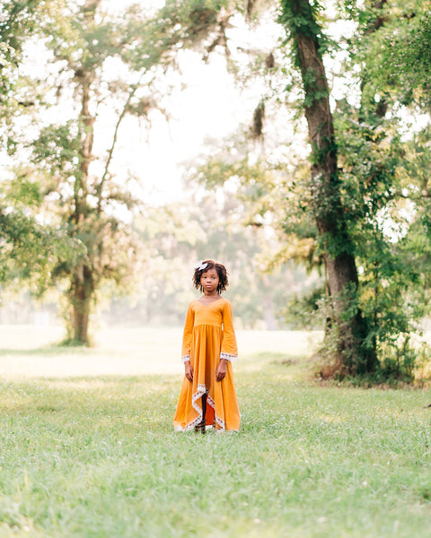 fall boho flower girl mustard yellow high low dress