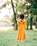 fall boho little girls high low dress mustard flower girl dress