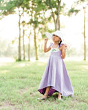 lavender rustic Easter floral dress flower girl high low dresses