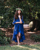 girls rustic fall navy blue high low lace dress
