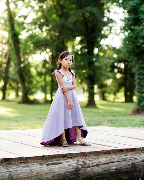 girls rustic lavender floral Easter dress flower girl high low dress