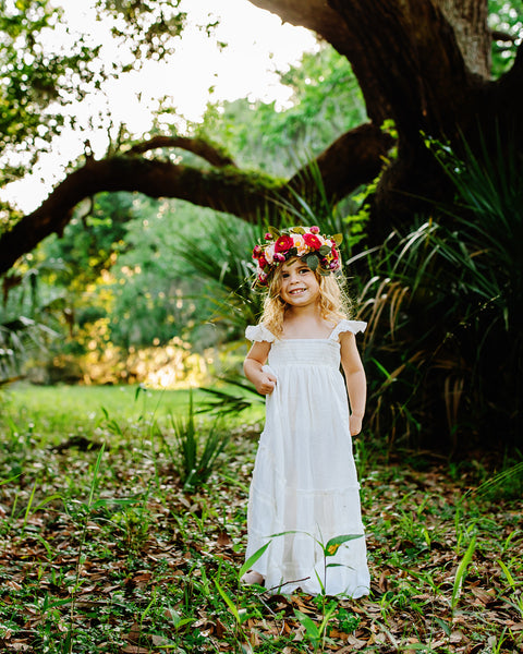 ivory boho flower girl maxi dress