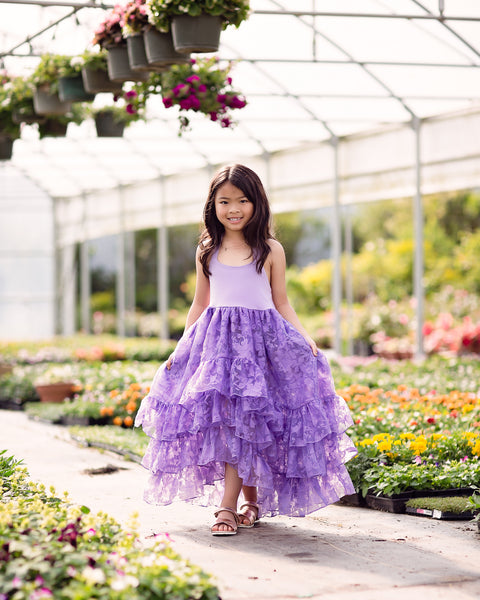bohemian high low flower girl dress purple - Belle & Kai