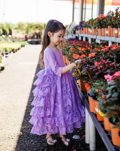 lavender rustic flower girl vintage dress country junior bridesmaid dress