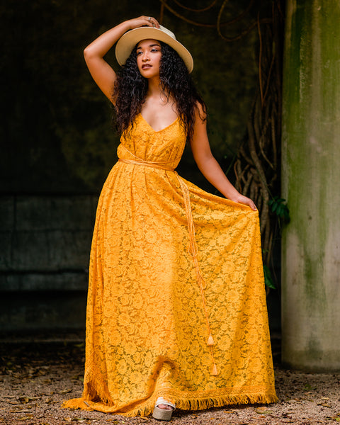 mustard boho hippie lace maxi dress