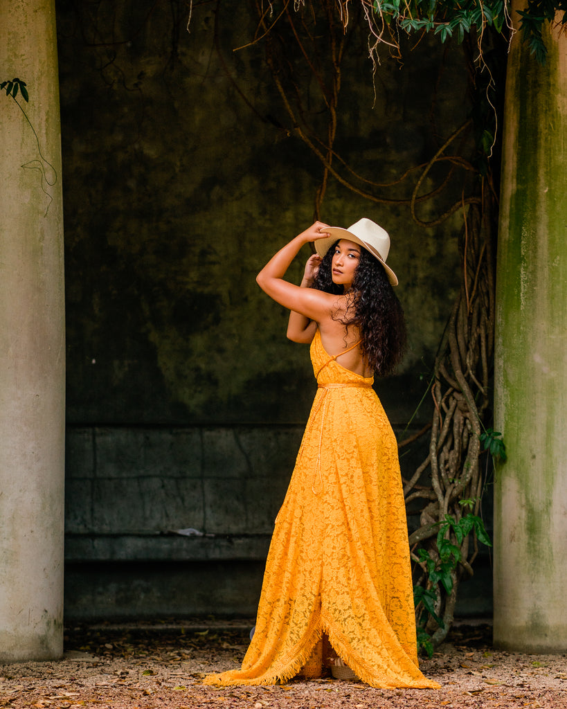 mustard lace boho bridesmaid maxi dress