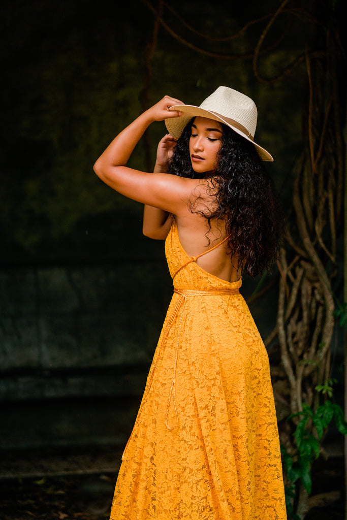 mustard yellow bohemian women maxi dress