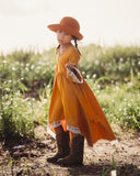 mustard yellow flower girl maxi dress