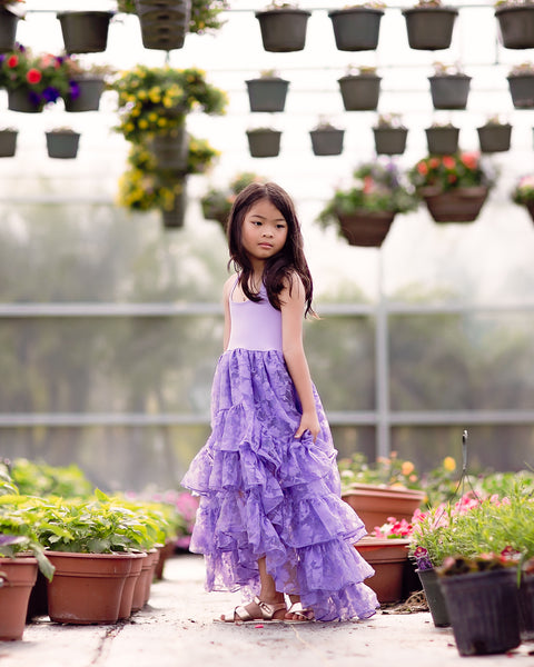 boho flower girl lavender maxi dress high low - Belle & Kai