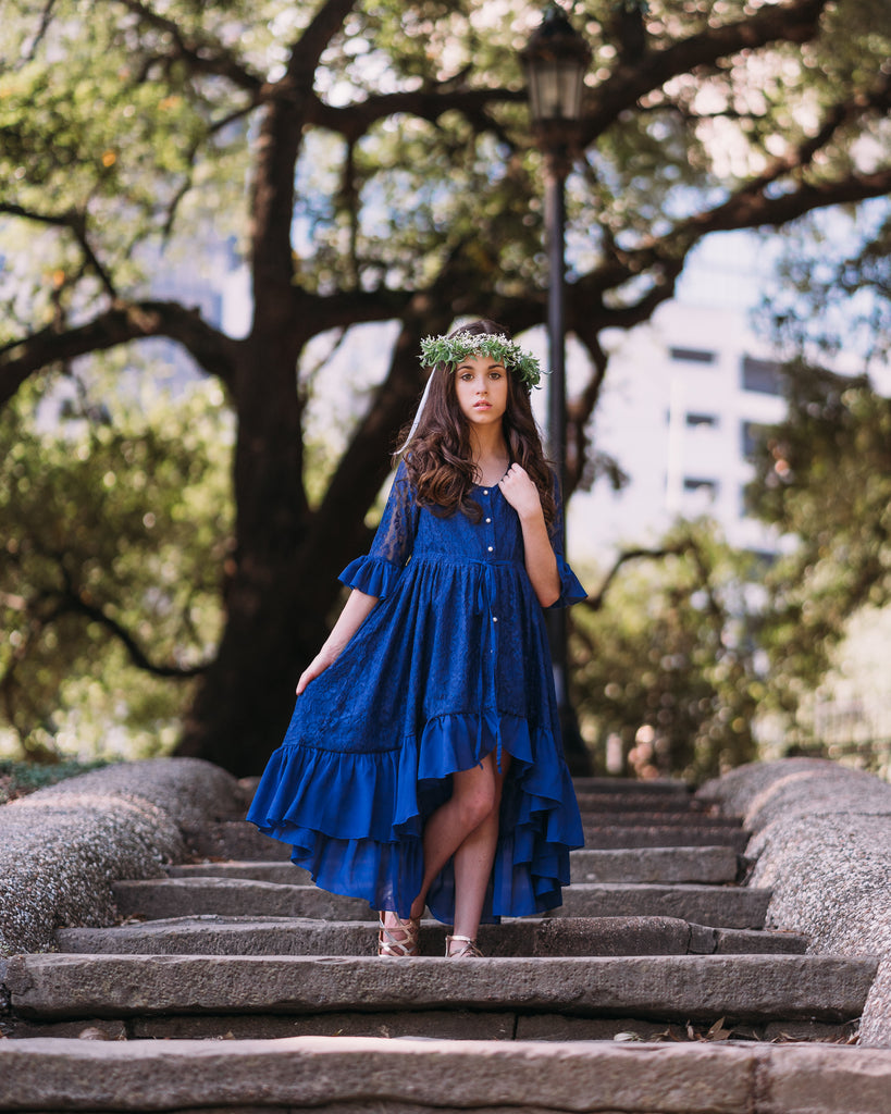 rustic boho navy blue flower girl lace dress