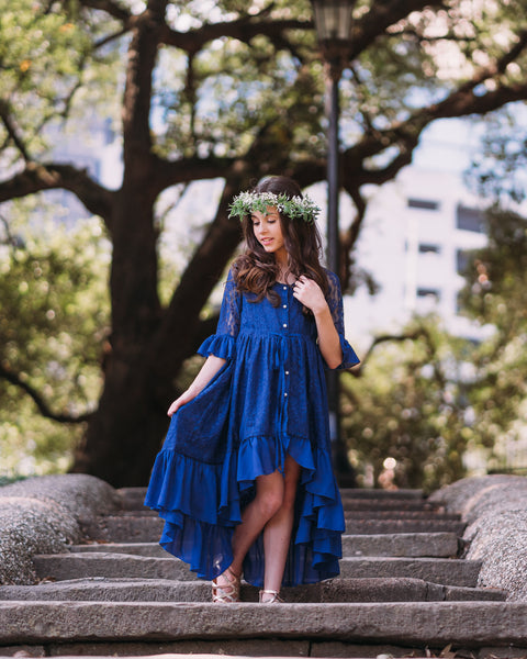 rustic boho navy blue junior bridesmaid lace dress