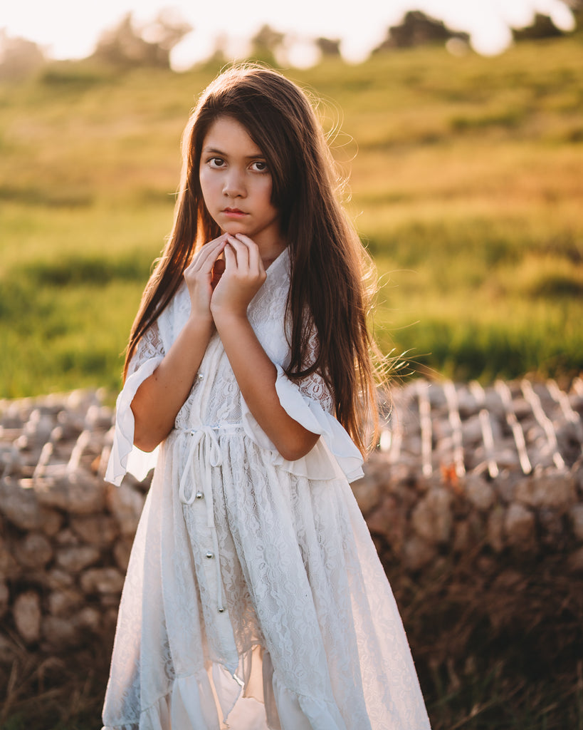 rustic country flower girl lace dress