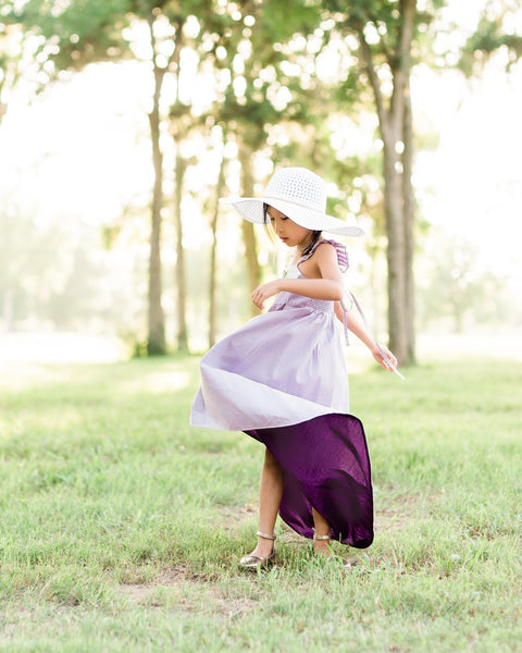 rustic floral flower girl dress lavender Easter high low dress
