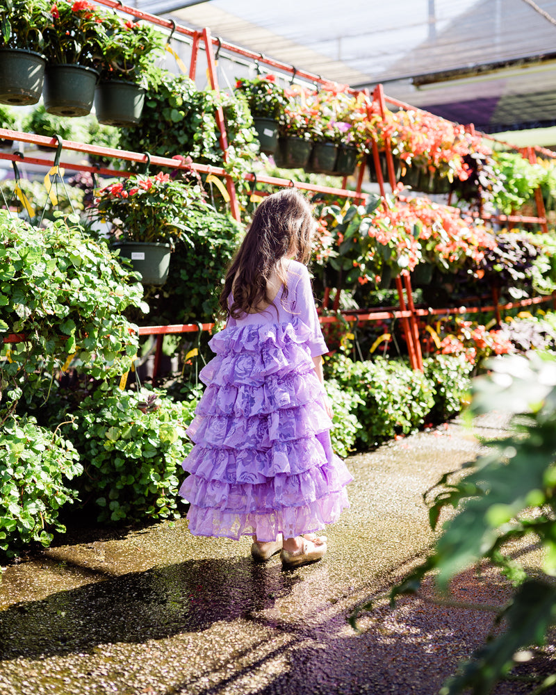 rustic flower girl dresses lavender ruffle vintage dress