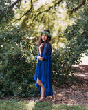 rustic girls fall navy blue high low lace dress