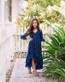 rustic girls holiday navy blue high low lace dress