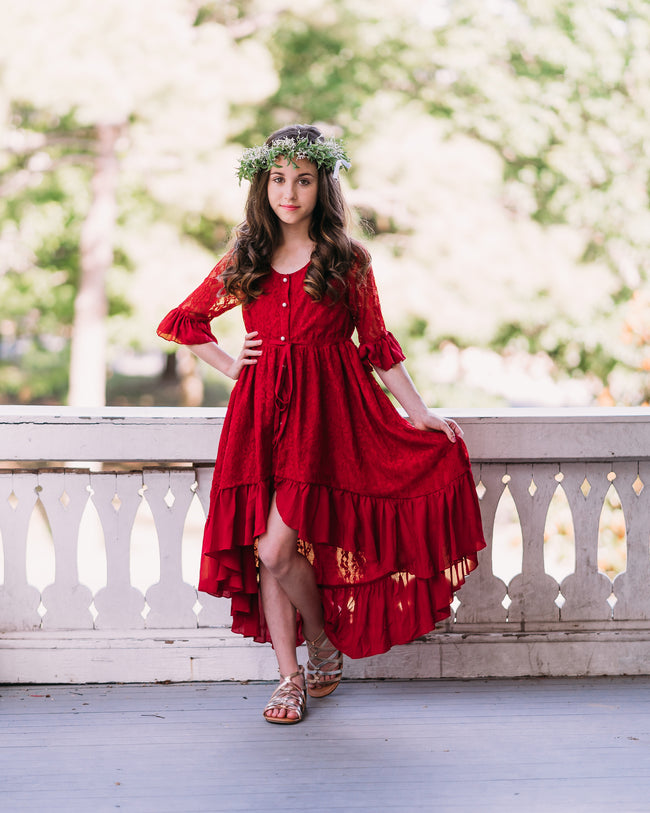 rustic lace burgundy red flower girl dress