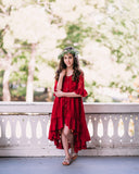rustic lace wine red flower girl high low dress
