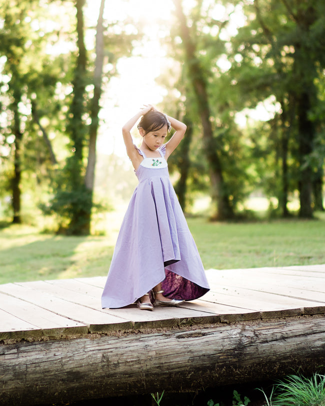 rustic lavender floral Easter dress flower girl high low dress
