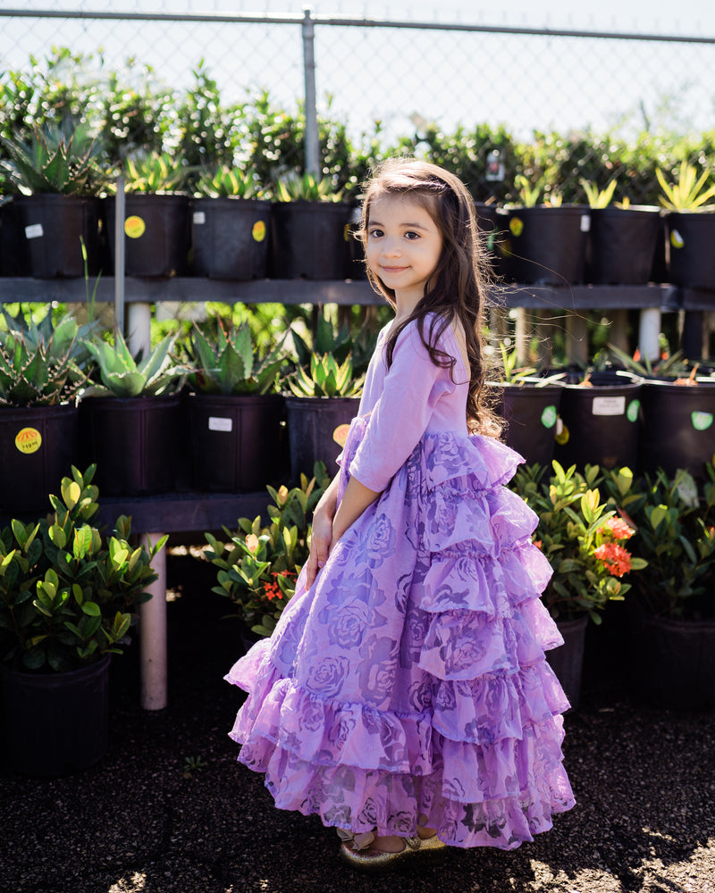 rustic lavender flower girl ruffle dress country junior bridesmaid dress