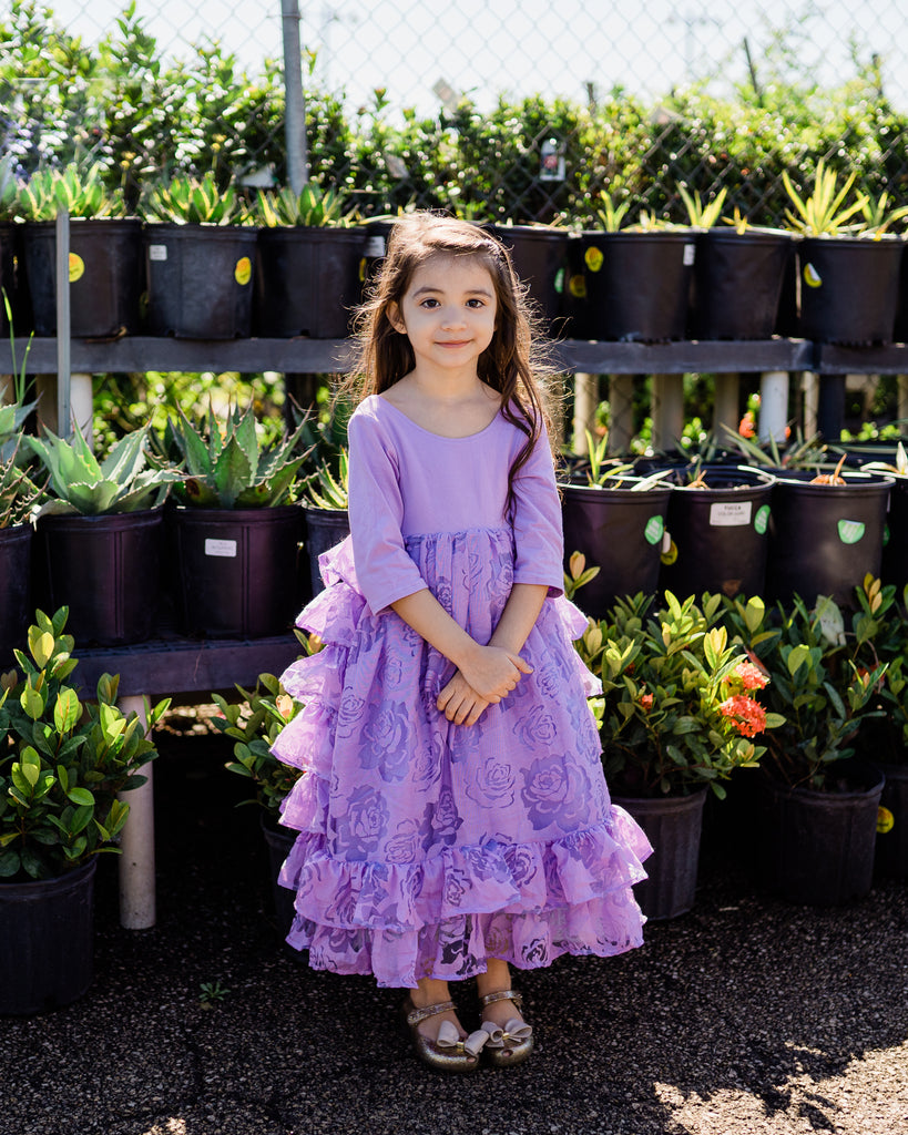 rustic vintage flower girl dress lavender ruffle country junior bridesmaid dress