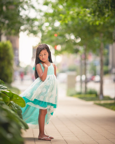 turquoise blue flower girl high low chiffon twirl dress