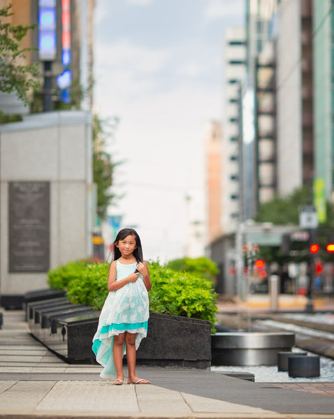turquoise blue bohemian flower girl high low dress