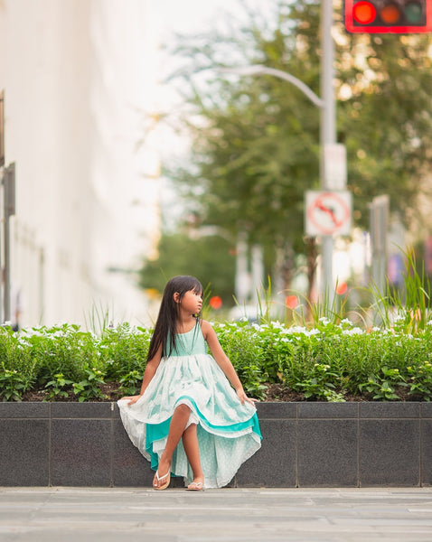 blue turquoise bohemian flower girl high low dress