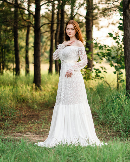 vintage lace off shoulder wedding dress