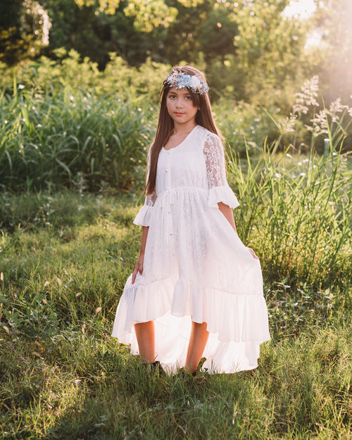 vintage rustic flower girl lace dress