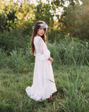 vintage rustic junior bridesmaid lace maxi dress